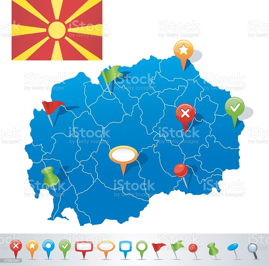 Map of Macedonia with navigation icons vector art illustration