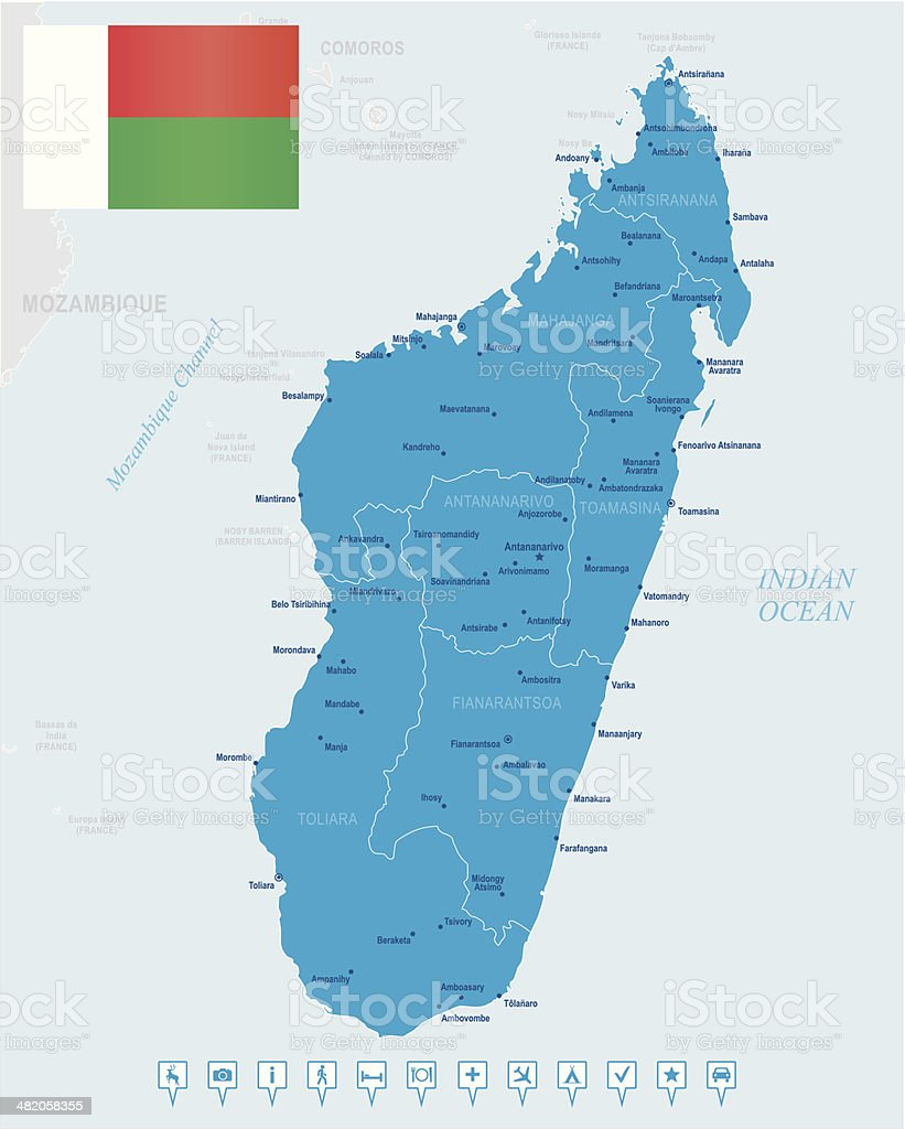 Map Of Madagascar States Cities Flag Navigation Icons Stock Vector