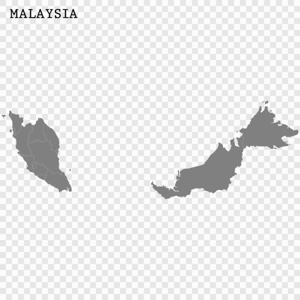 Map of Malaysia vector art illustration
