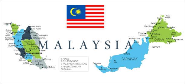karte von malaysia - vektor - kuching stock-grafiken, -clipart, -cartoons und -symbole