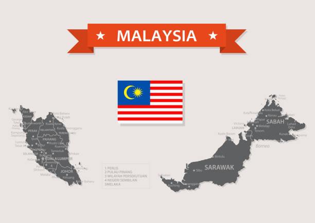 karte von malaysia - vintage vector - kuching stock-grafiken, -clipart, -cartoons und -symbole