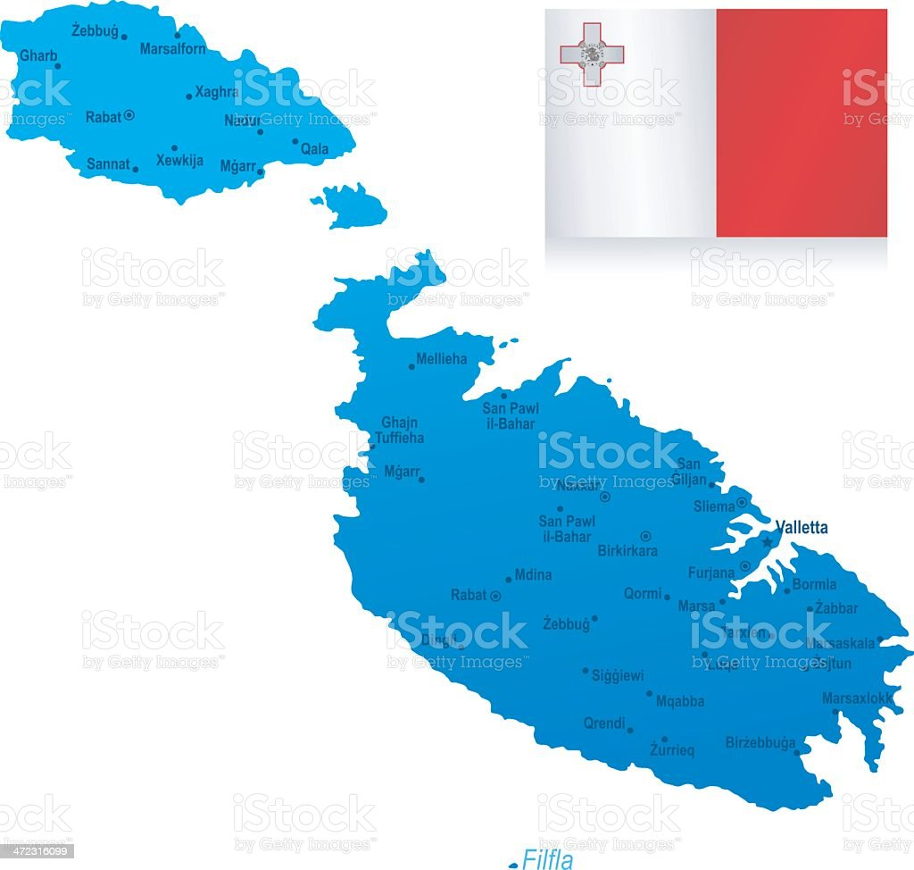 Map of Malta - cities and flag royalty-free map of malta cities and flag stock vector art & more images of blue