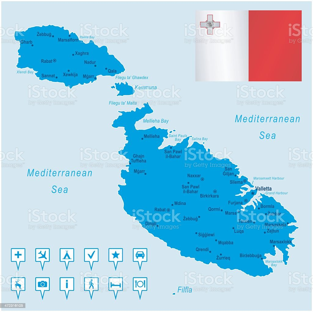 Map of Malta - cities, flag, navigation icons royalty-free stock vector art