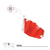 Map of Malta with flag