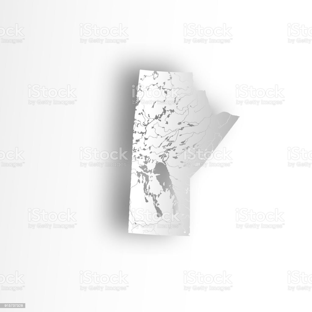 Map of Manitoba with rivers and lakes. vector art illustration