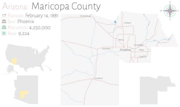 stockillustraties, clipart, cartoons en iconen met kaart van maricopa county in arizona - arizona highway signs