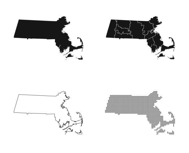 map of Massachusetts – artystyczna grafika wektorowa