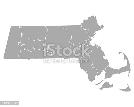 istock Map of Massachusetts 902492122