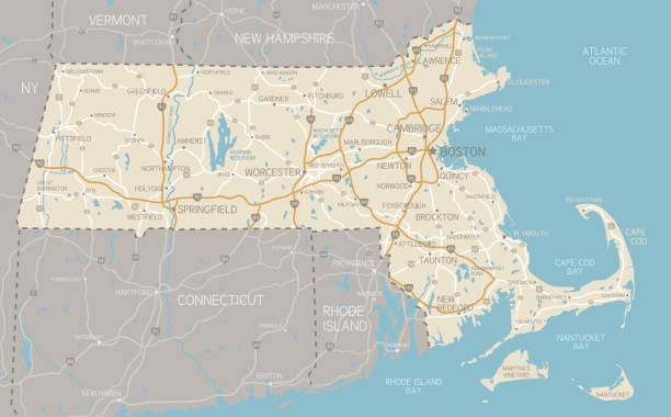 Map of Massachusetts with highways A detailed map of Massachusetts state with cities, roads, major rivers, and lakes. Includes neighboring states and surrounding water.  gloucester massachusetts stock illustrations