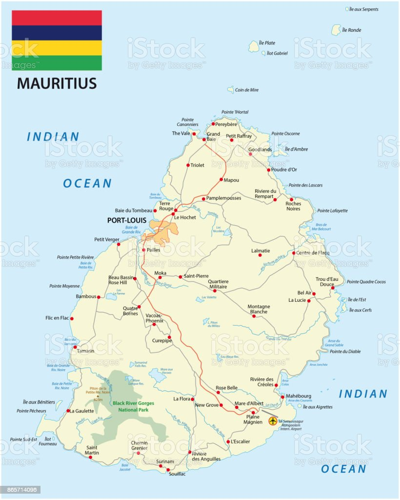 Karte Mauritius.Map Of Mauritius With Main Cities Roads And Flag Stock Illustration
