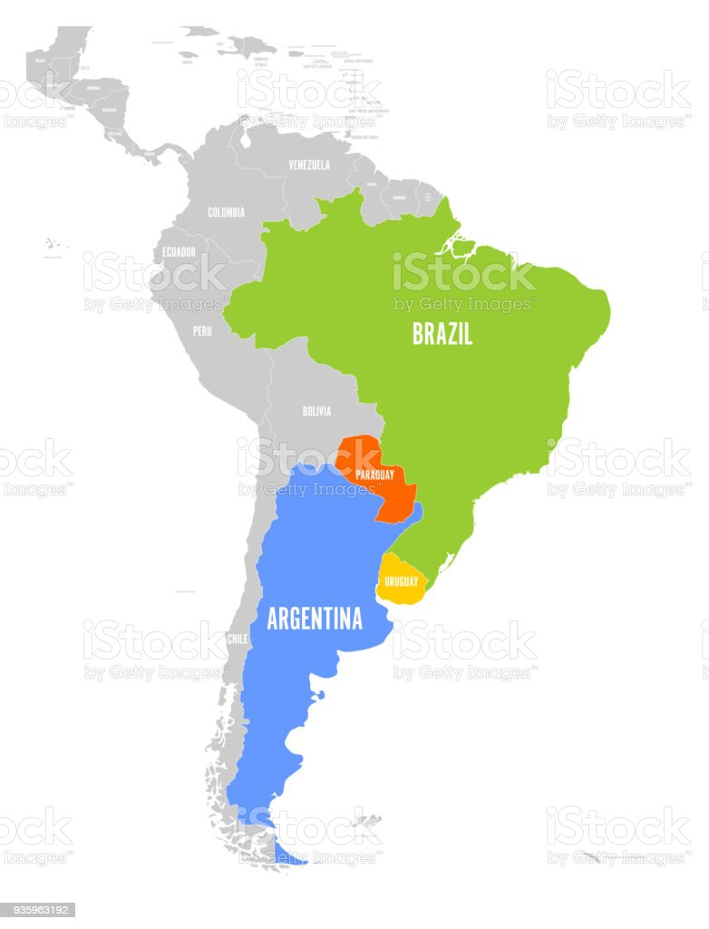 Map of mercosur countires south american trade association map of mercosur countires south american trade association highlighted member states brazil paraguay gumiabroncs Images