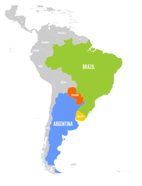 Map of MERCOSUR countires. South american trade association. Highlighted member states Brazil, Paraguay, Uruguay and Argetina. Since December 2016 vector art illustration