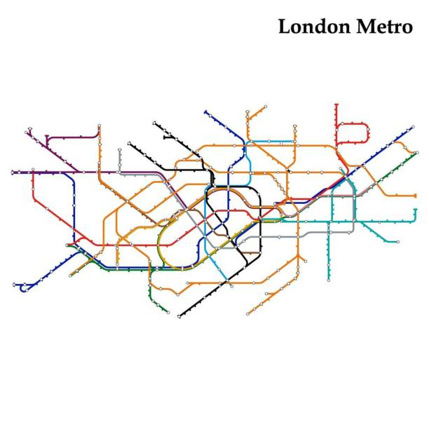 Map of metro Map of London metro,  Template of city transportation scheme for underground road. Vector illustration. london stock illustrations