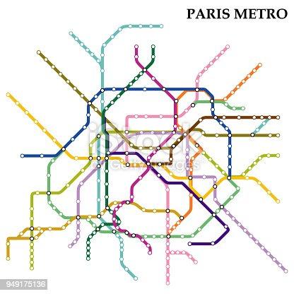 Map of Paris metro, Subway, Template of city transportation scheme for underground road. Vector illustration.