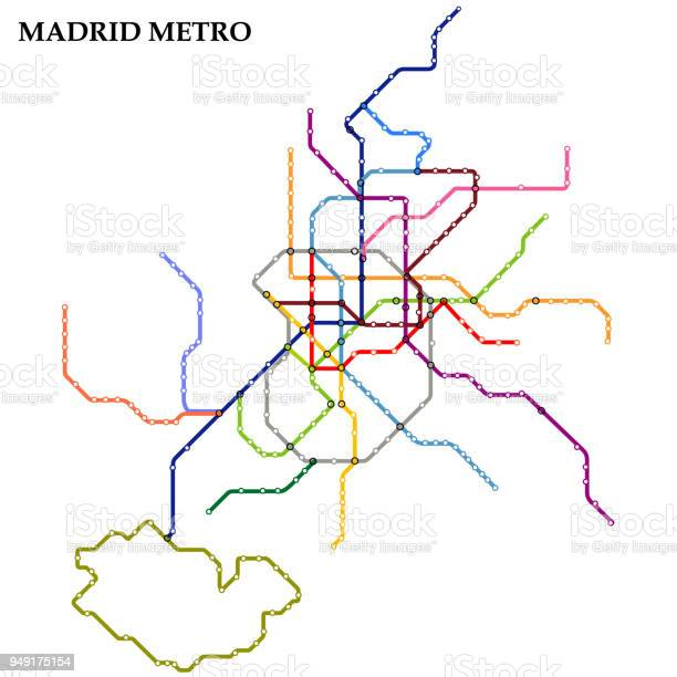Map of Madrid metro, Subway, Template of city transportation scheme for underground road. Vector illustration.