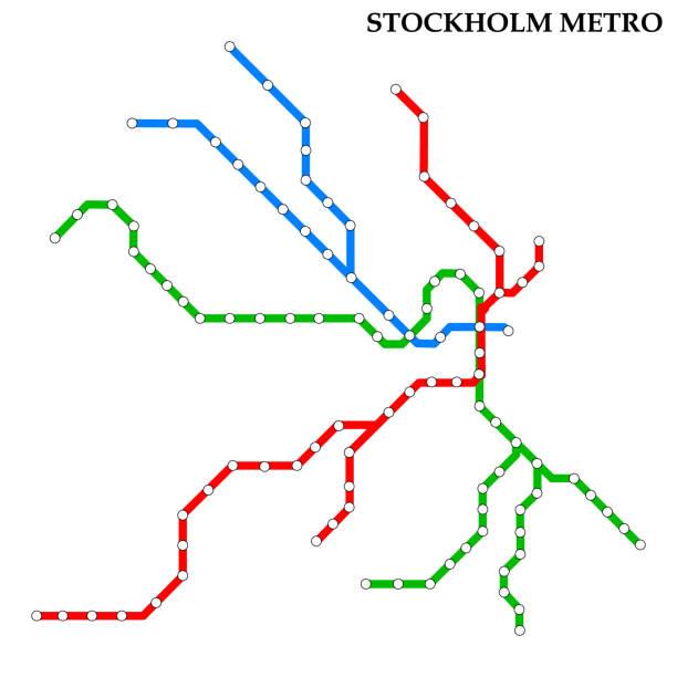 bildbanksillustrationer, clip art samt tecknat material och ikoner med karta över metro - stockholm