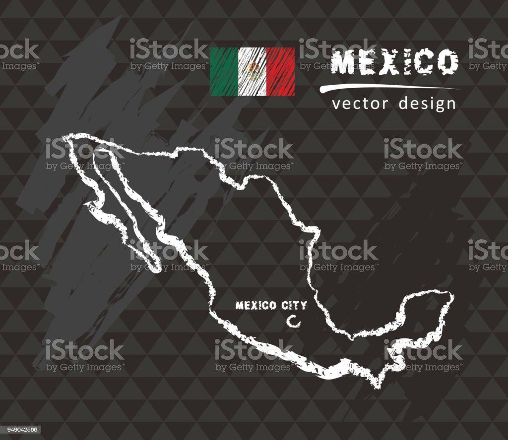 Map of Mexico, Chalk sketch vector illustration vector art illustration