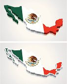 3D Map of Mexico Flag