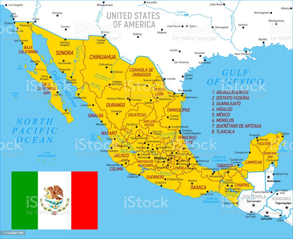 Map Of Mexico High Detailed Orange Vector Map With Borders ...