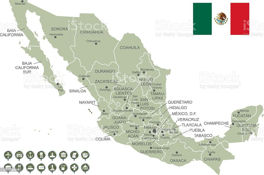 Map Of Mexico Stock Vector Art More Images Of 2015 532052645 Istock