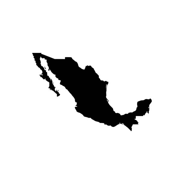 Map of Mexico Black vector icon map of Mexico mexico stock illustrations