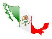 High detailed vector map of  Mexico with national flag