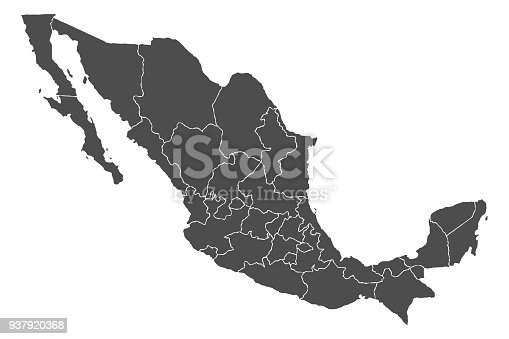 Detailed, accurate map of Mexico in high resolution. Vector illustration.