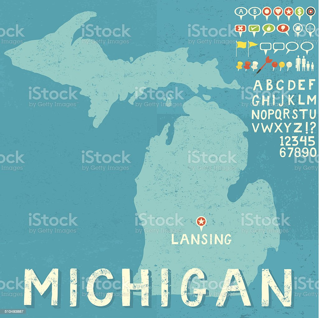Map of Michigan with icons vector art illustration