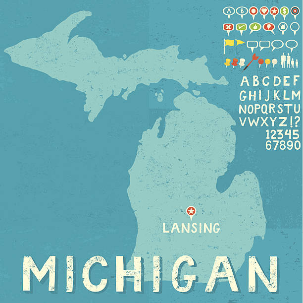 Map of Michigan with icons Map of Michigan with icons RETROROCKET stock illustrations