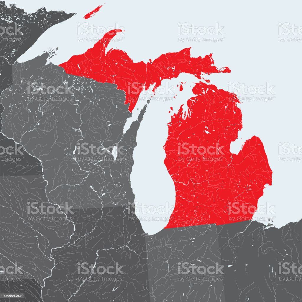 Map of Michigan with lakes and rivers. map of michigan with lakes and rivers - stockowe grafiki wektorowe i więcej obrazów ameryka royalty-free