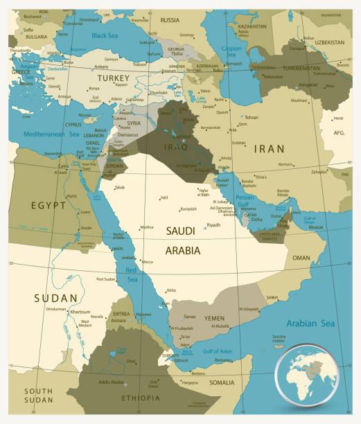 ilustraciones, imágenes clip art, dibujos animados e iconos de stock de mapa de medio oriente y asia. militar de colores - mapa de oriente medio