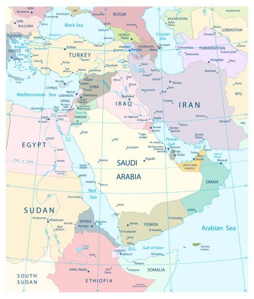 Mapa de Oriente y Asia - ilustración de arte vectorial
