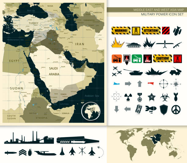 ilustraciones, imágenes clip art, dibujos animados e iconos de stock de mapa de oriente y asia - mapa de oriente medio