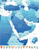Map of Middle East - countries, cities and navigation icons