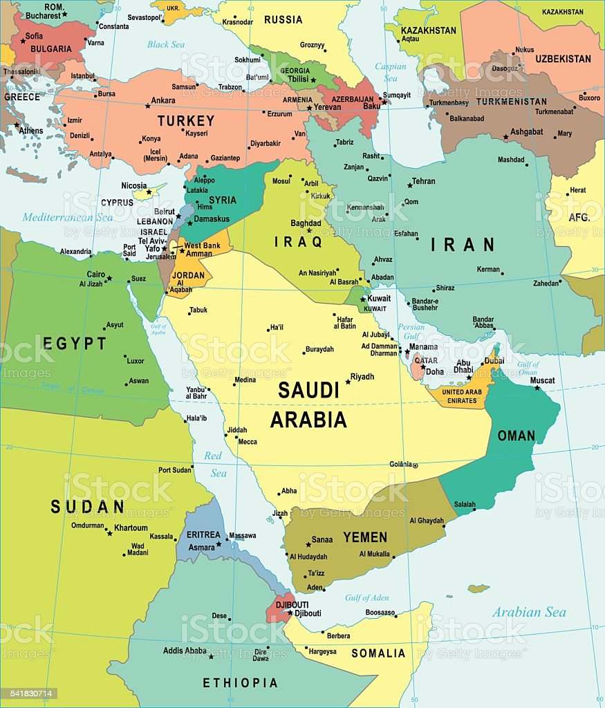 Map of Middle East - illustration vector art illustration