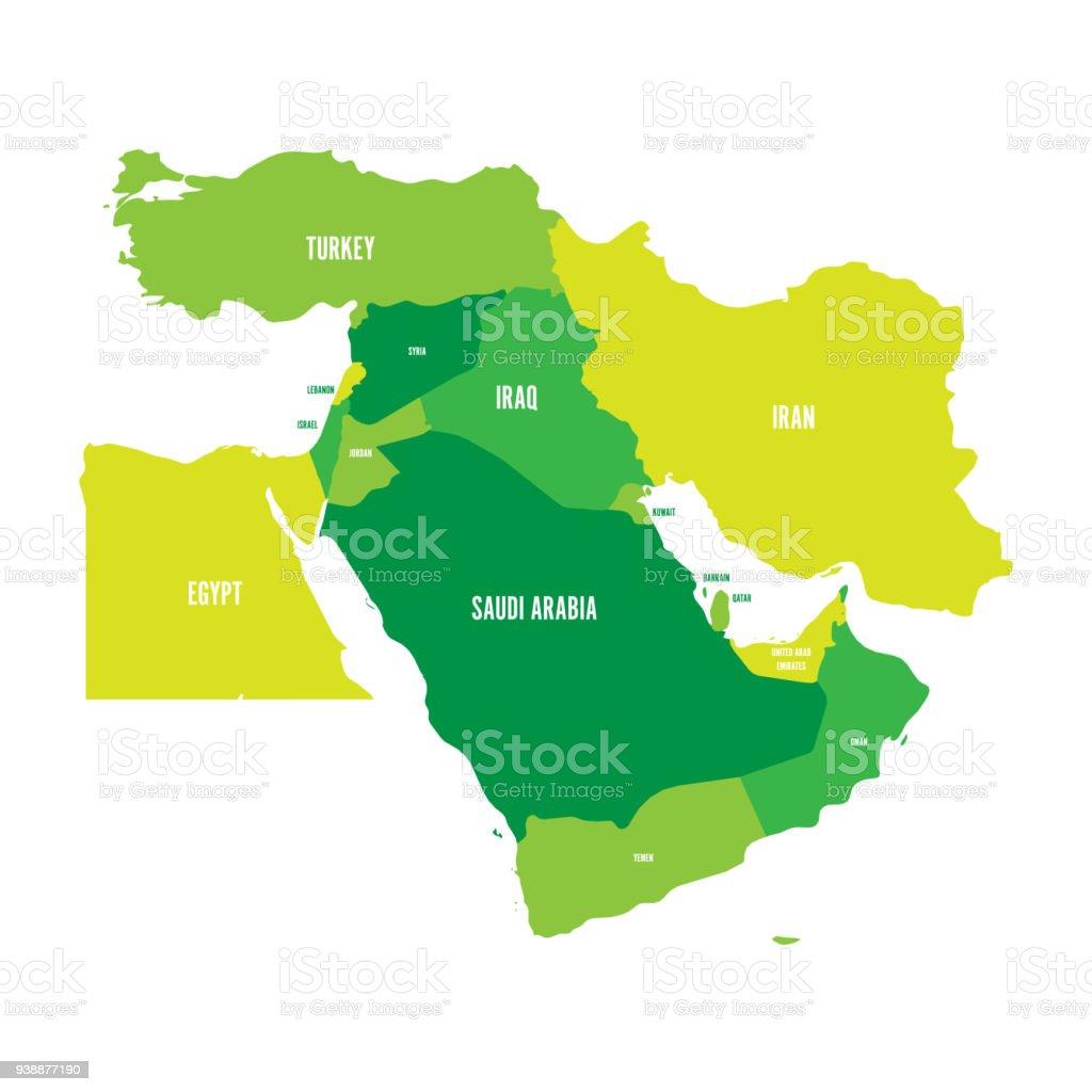 Nahost Karte.Karte Von Nahost Oder Nahen Osten In Grüntönen Einfachen Flachen