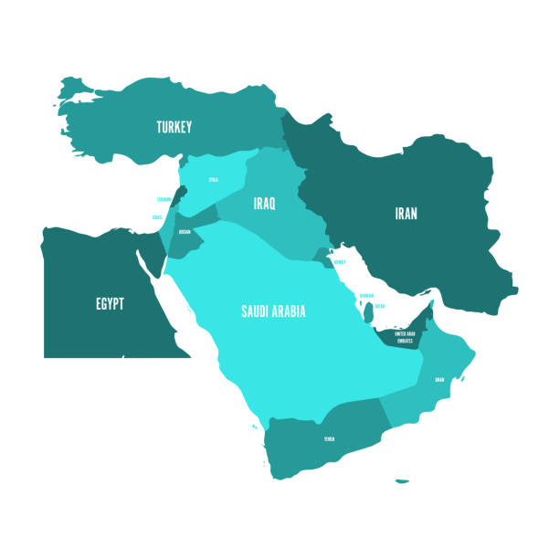 Map of Middle East, or Near East, in shades of turquoise blue. Simple flat vector ilustration vector art illustration