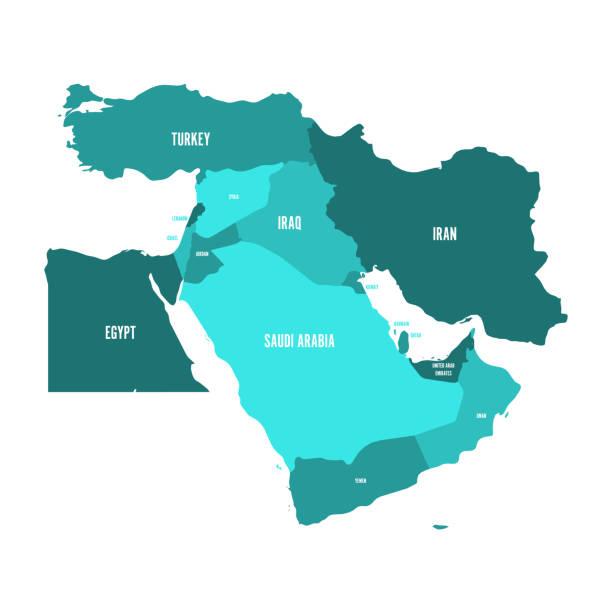 illustrazioni stock, clip art, cartoni animati e icone di tendenza di map of middle east, or near east, in shades of turquoise blue. simple flat vector ilustration - medio oriente