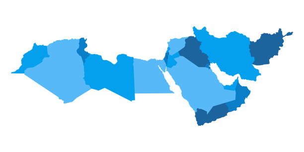 Map of Middle East vector art illustration