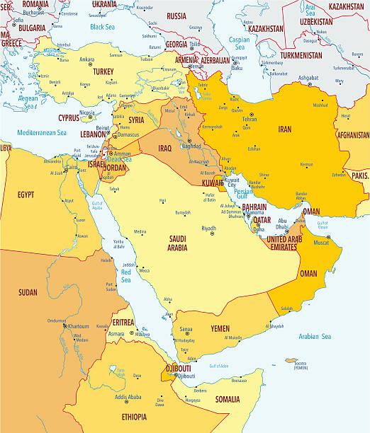ilustrações, clipart, desenhos animados e ícones de mapa do oriente médio - mapa do oriente médio