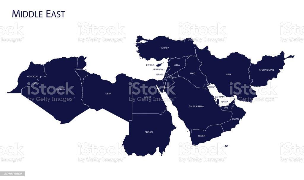 Map of Middle East. - Grafika wektorowa royalty-free (Abstrakcja)