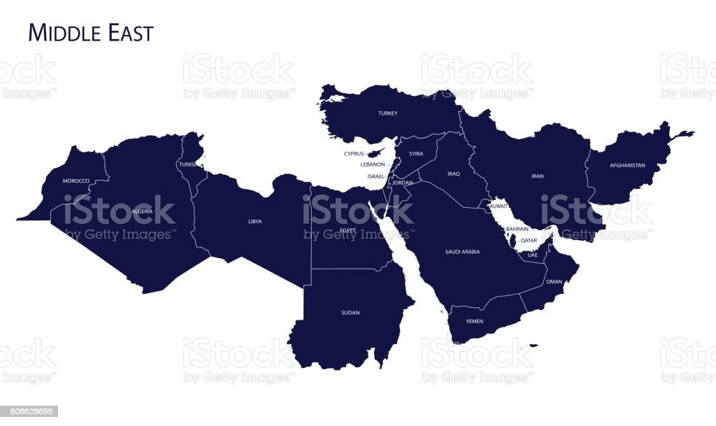 Map of Middle East. vector art illustration