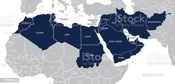 Map of Middle East. Member states are as follows;