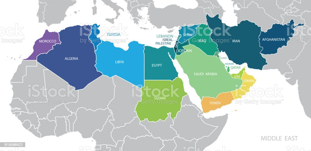 Map of Middle East. Vector vector art illustration