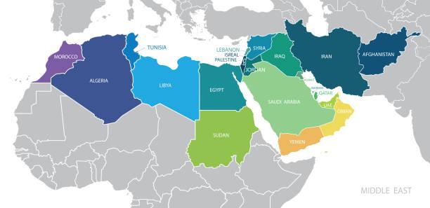 illustrazioni stock, clip art, cartoni animati e icone di tendenza di map of middle east. vector - medio oriente