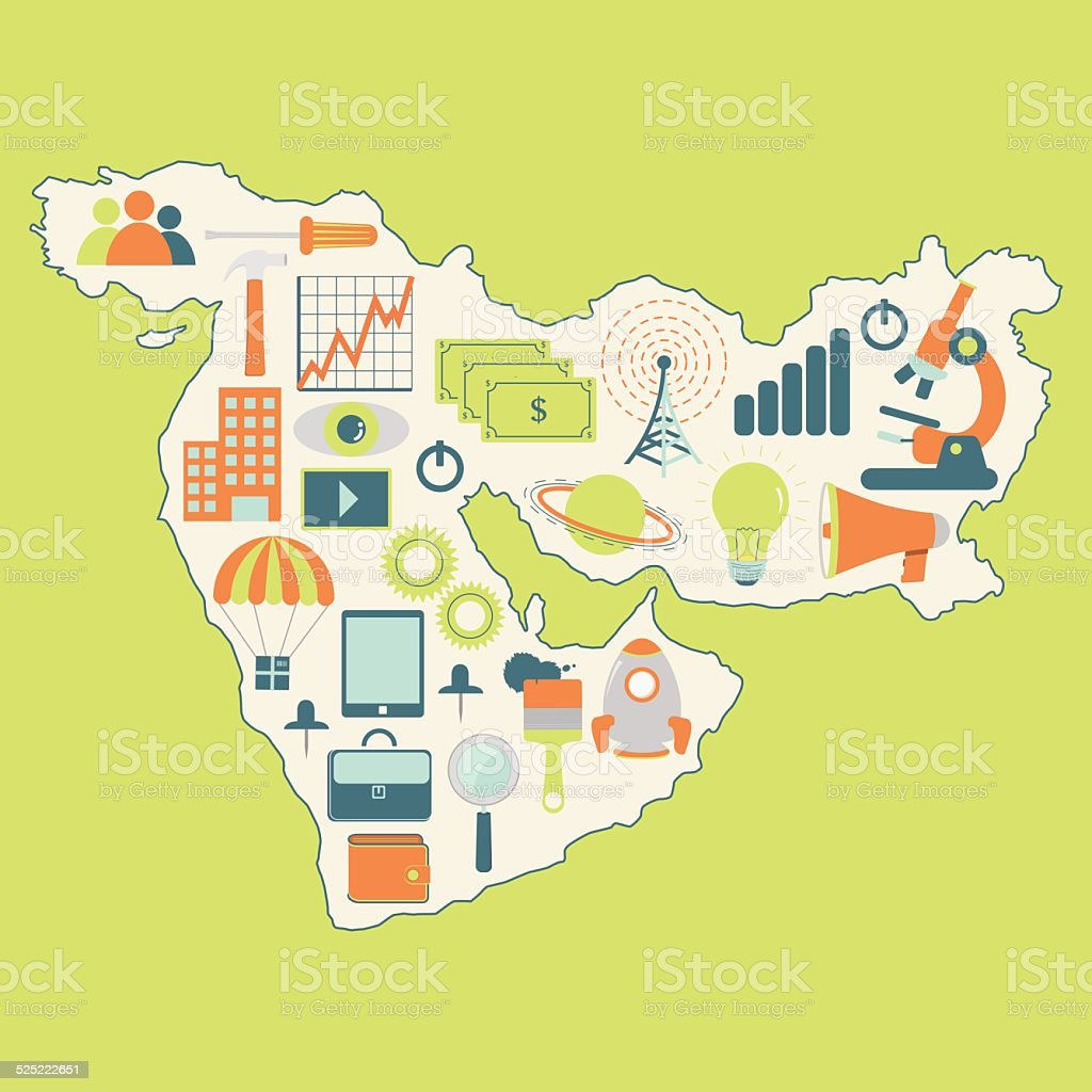 Map of Middle East with technology icons vector art illustration