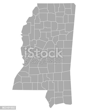 istock Map of Mississippi 902491932