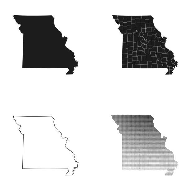 map of Missouri – artystyczna grafika wektorowa
