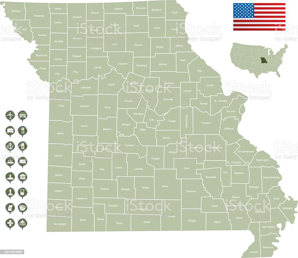 Map of Missouri vector art illustration