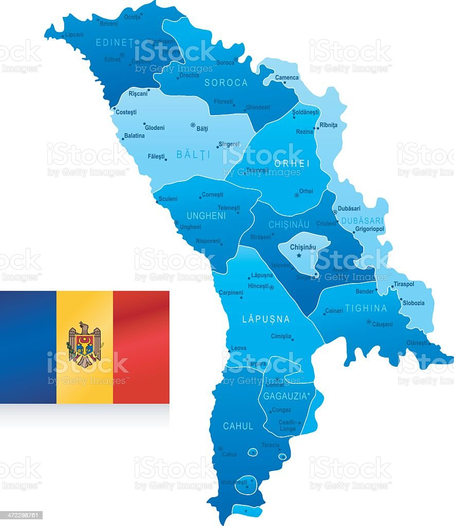 Map of Moldova - states, cities, flag and icons royalty-free stock vector art